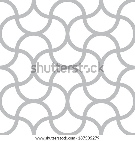 Vector seamless monochrome pattern - simple geometric lines on white square background - stock vector