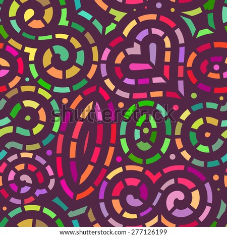 Vector Seamless Mosaic Pattern. Modern Stylish Background with Separated Colorful Linear Shapes - stock vector