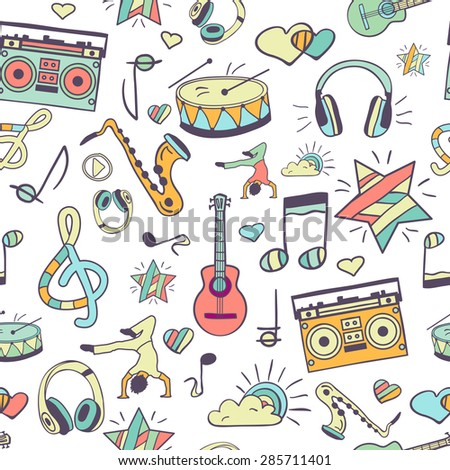 Vector seamless musical pattern, hand drawn childish doodles.Vector design elements: notes, musical instruments, lifestyle, music. Music background. - stock vector