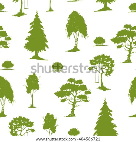 Vector seamless natural pattern with trees. Green on White.  Hand drawn vector illustration. Ink sketch. For prints, backgrounds, wrapping, fabric and other design. - stock vector