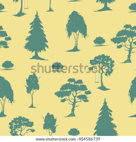 Vector seamless natural pattern with trees. Green on yellow. Hand drawn vector illustration. Ink sketch. For prints, backgrounds, wrapping, fabric and other design. - stock vector