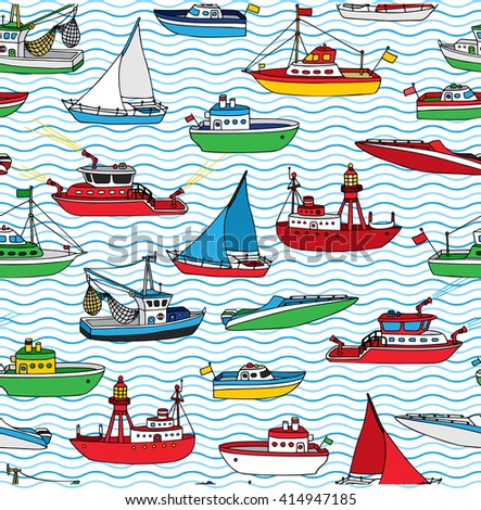 Vector seamless nautical pattern. Lightship, fireboat, fishing trawler, speedboat, sailboat and motorboat. Hand-drawn ships and boats on waves background.