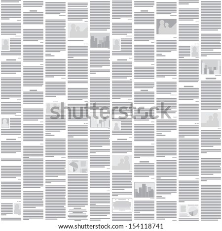 Vector seamless newspaper pattern - abstract monochrome background for design - stock vector