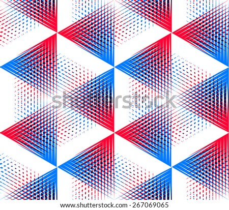 Vector seamless optical ornamental pattern with three-dimensional geometric figures. Intertwine colored EPS10 composition. - stock vector