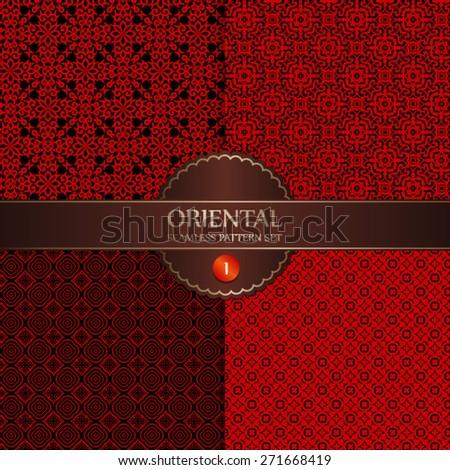 Vector Seamless Oriental Background Pattern Set - stock vector