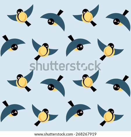 Vector seamless ornament tits on blue background - stock vector