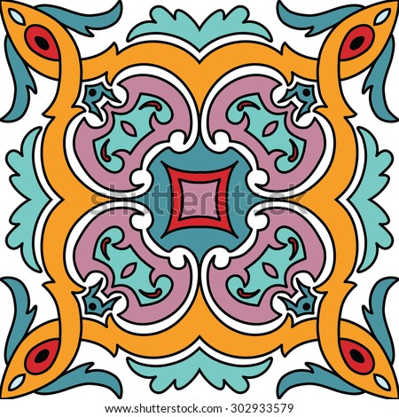 Vector seamless ornamental tile background in Italian style - stock vector