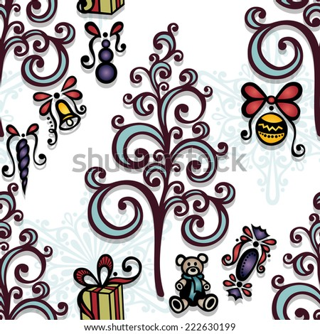Vector Seamless Ornate Winter Pattern, Christmas Decorations