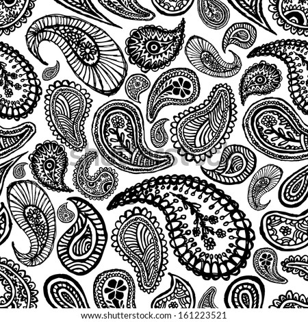 vector seamless paisley pattern  - stock vector