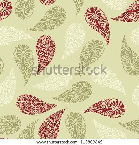 Vector  seamless paisley  pattern, fully editable eps 8 file with clipping masks and  seamless pattern in swatch menu - stock vector