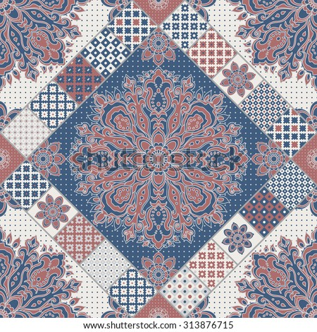 Vector seamless patchwork pattern from dark blue, terracotta, beige and light grey oriental ornaments, dot patterns, Indian style decorative rosette from stylized flowers and leaves. Textile print - stock vector