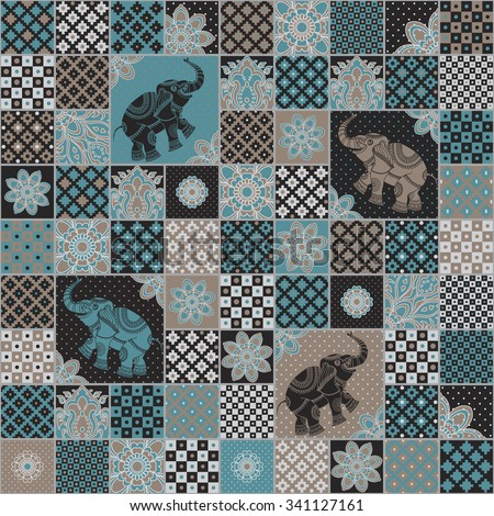 Vector seamless patchwork pattern from dark turquoise, brown, light grey and beige oriental ornaments. Indian elephant silhouette, rosette from stylized flowers and leaves. Geometrical textile print - stock vector