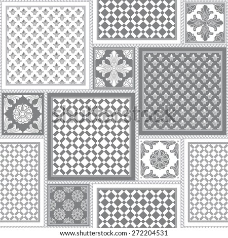 Vector seamless patchy pattern from dark grey and white geometric ornaments, stylized flowers and leaves on light gray background - stock vector