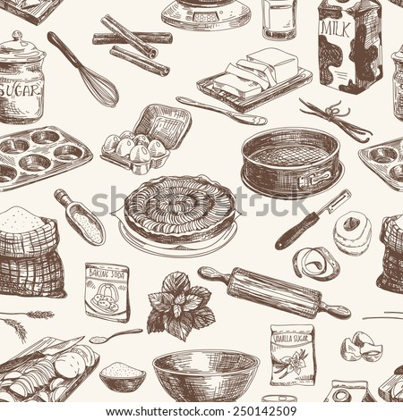 Vector seamless patten. Vintage Illustration with milk, sugar, flour, vanilla, eggs, mixer, baking powder, rolling, whisk, spoon vanilla bean, butter and kitchen dish.