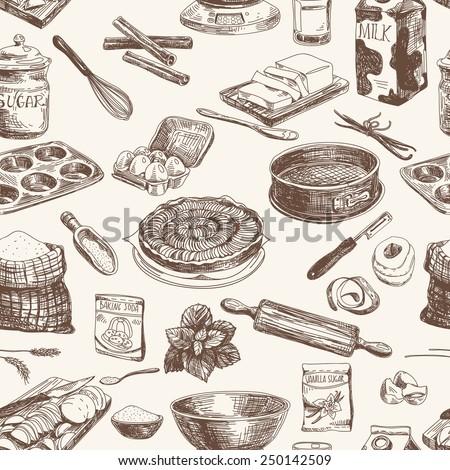 Vector seamless patten. Vintage Illustration with milk, sugar, flour, vanilla, eggs, mixer, baking powder, rolling, whisk, spoon vanilla bean, butter and kitchen dish. - stock vector