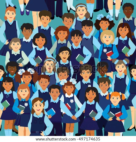 Vector seamless pattern. A lot of little children different nationality in a school uniform on a blue background
