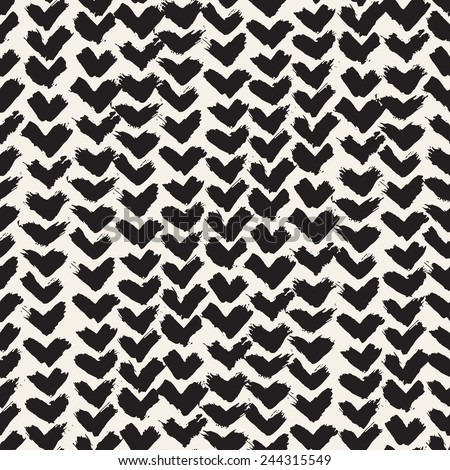Vector seamless pattern. Abstract background with brush strokes. Monochrome hand drawn texture with chevron - stock vector