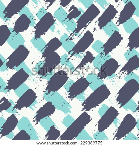 Vector seamless pattern. Abstract background with diagonal brush strokes. Hand drawn texture in blue and azure colors - stock vector