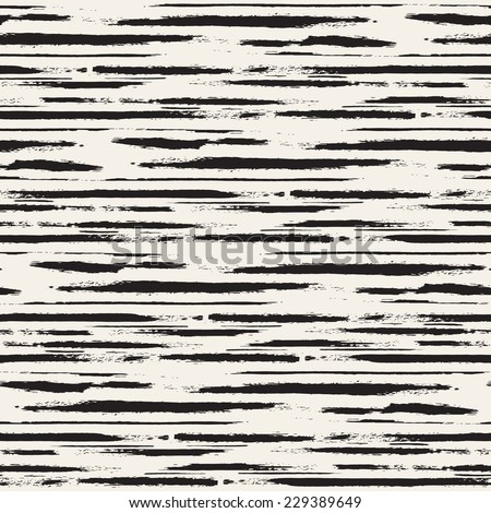 Vector seamless pattern. Abstract background with horizontal brush strokes. Monochrome hand drawn texture - stock vector