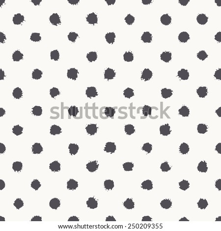 Vector seamless pattern. Abstract background with round brush strokes. Monochrome hand drawn texture. Stylish polka dot - stock vector