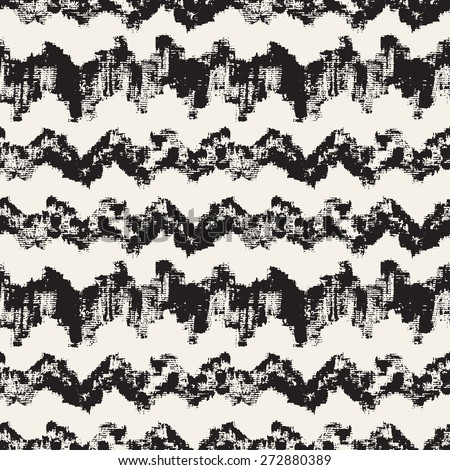 Vector seamless pattern. Abstract background with zigzag brush strokes. Monochrome hand drawn texture. Hipster graphic design. - stock vector