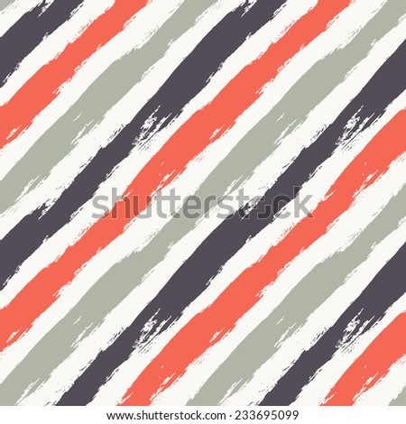 Vector seamless pattern. Abstract colorful background with brush strokes. Striped hand drawn texture. Diagonal stripes in contrast colors - stock vector