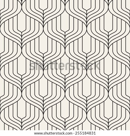 Vector seamless pattern. Abstract geometric background. Linear monochrome grid with wavy zigzag. Striped stylish trellis - stock vector