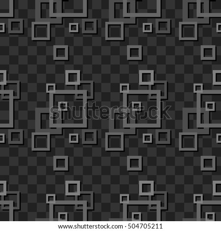 Vector seamless pattern. Abstract geometric ornament with grey squares on dark background.
