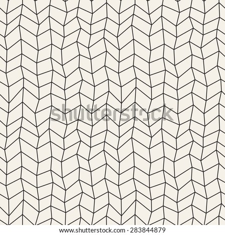 Vector seamless pattern. Abstract hand drawn background. Monochrome texture with linear herringbone. Modern graphic design. Creative hipster doodles with chevrons. - stock vector