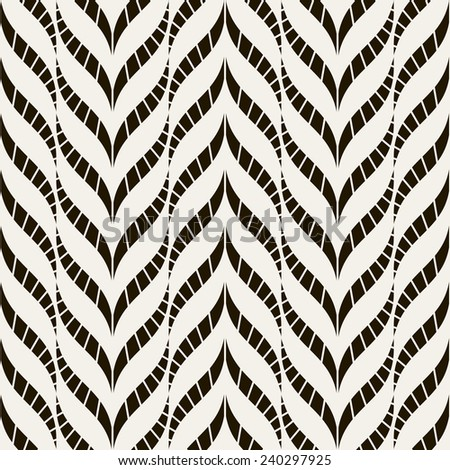 Vector seamless pattern. Abstract stylish background. Striped smooth zigzag - stock vector