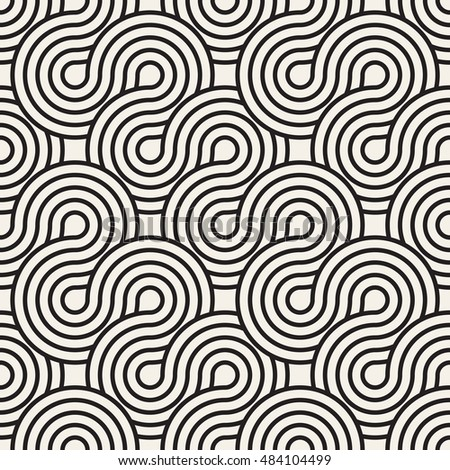 Vector seamless pattern. Abstract stylish background. Wavy geometric texture with winding ribbon. Monochrome striped loopy ribbon.