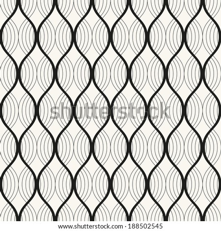 Vector seamless pattern. Abstract stylish background. Wavy grid - stock vector