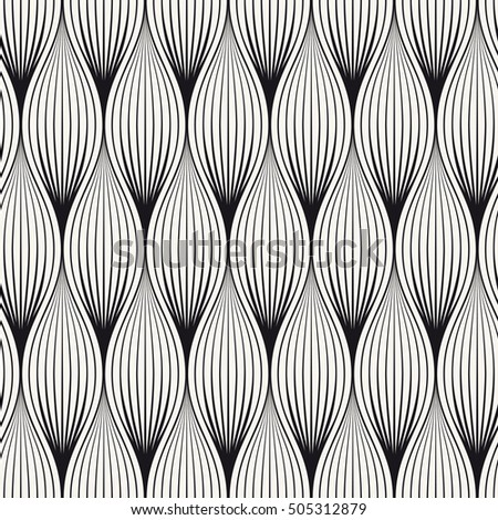 Vector seamless pattern. Abstract stylish background with stylized petals. Geometric striped elements.