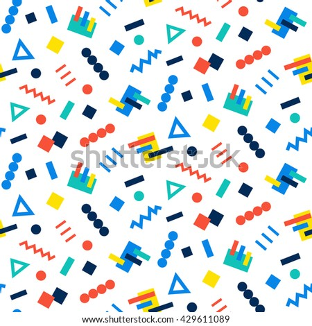 Vector Seamless Pattern background in 90s geometric fashion style - stock vector
