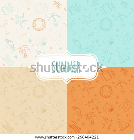 Vector seamless pattern, background in sketch style, summer vacation, travel and tourism - stock vector