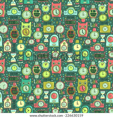 Vector seamless pattern background with cute cartoon clocks and watches. Illustration for your design. Time objects.  - stock vector