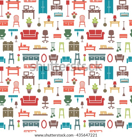 Vector seamless pattern background with home furniture icons 7