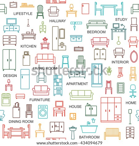 Vector seamless pattern background with home furniture outline icons 4
