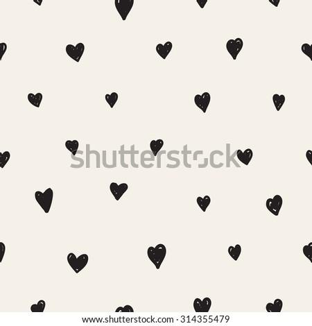 Vector seamless pattern. Casual polka dot texture. Stylish print with hand drawn hearts. - stock vector