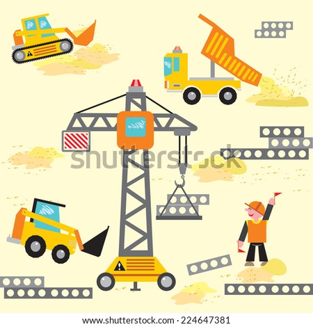 Vector seamless pattern construction machinery and builders. Compatible with my pattern with construction machinery and builders. In my portfolio there is a lot of transport and different machines. - stock vector