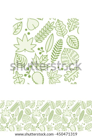 Vector seamless pattern design with various green line leaves. Global colors. - stock vector