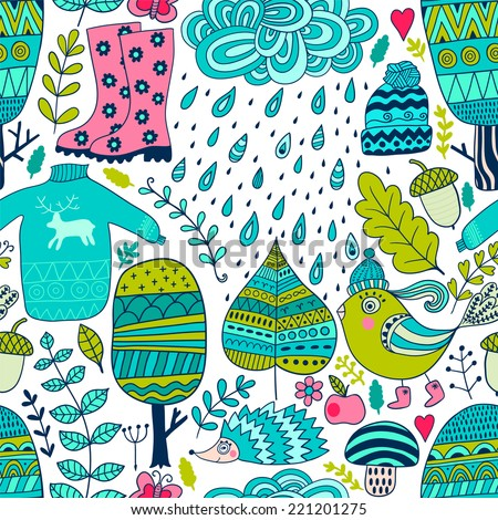 Vector seamless pattern, doodling autumn design. Hand draw trees and leafs over the city. Season of the rain, illustration, cute background. Color doodle background - stock vector