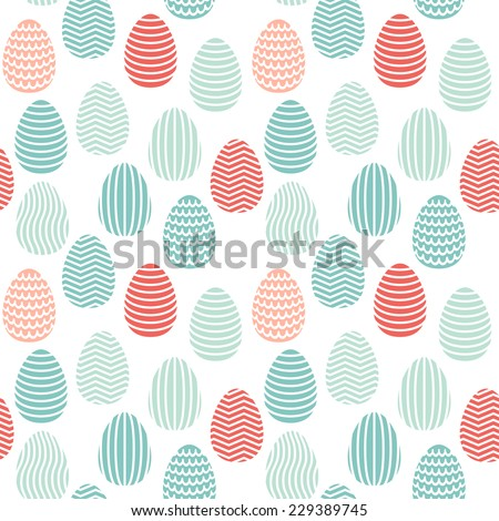 Vector seamless pattern. Easter painted eggs with geometric ornaments. Colorful holiday print - stock vector