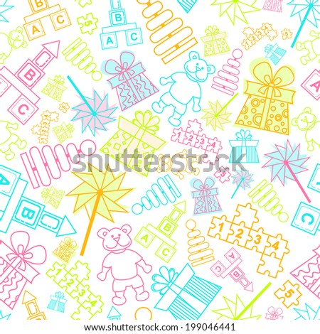 Vector seamless pattern. Endless background with children toys for use in design, wallpaper, fabrics, packaging, textile, web page