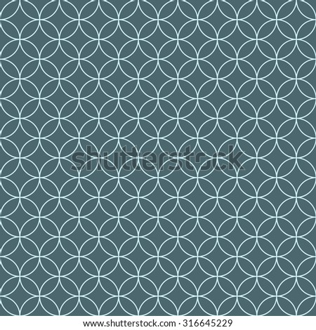 Vector seamless pattern. Endless texture can be used for printing onto fabric and paper or scrap booking. Blue and white style pattern with circles and lines. - stock vector