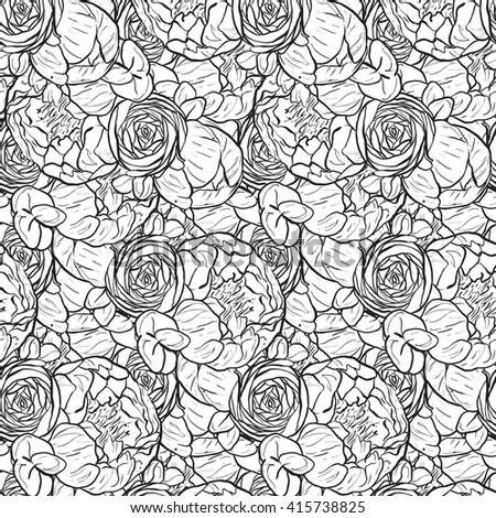 vector seamless pattern floral black and white - stock vector