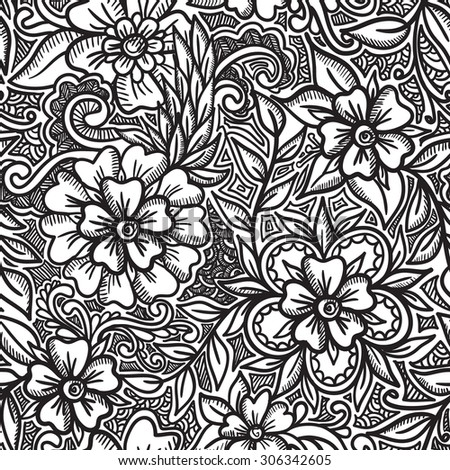 Vector Seamless Pattern. Floral. Doodle Wallpaper, Background - stock vector