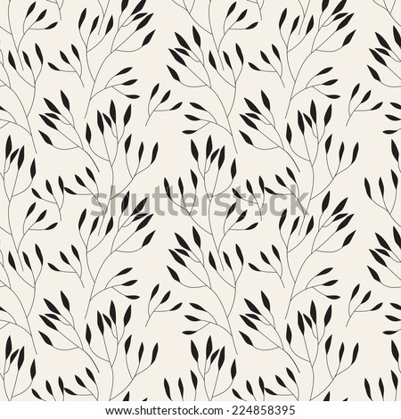 Vector seamless pattern. Floral stylish background. Delicate silhouette of branches - stock vector