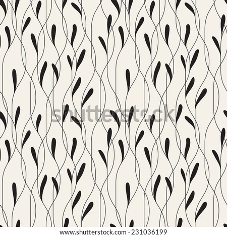 Vector seamless pattern. Floral stylish background. Elegant monochrome branches with narrow thin leaves - stock vector