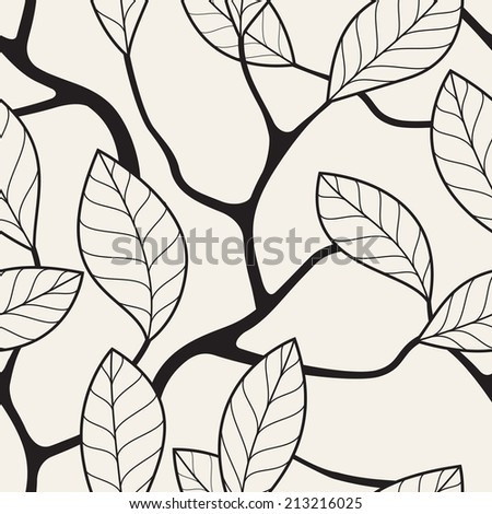 Vector seamless pattern. Floral stylish background. Graphic repeating texture with branches - stock vector